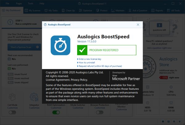 Auslogics BoostSpeed 11.5.0 Crack & Keygen {2020} Free Download