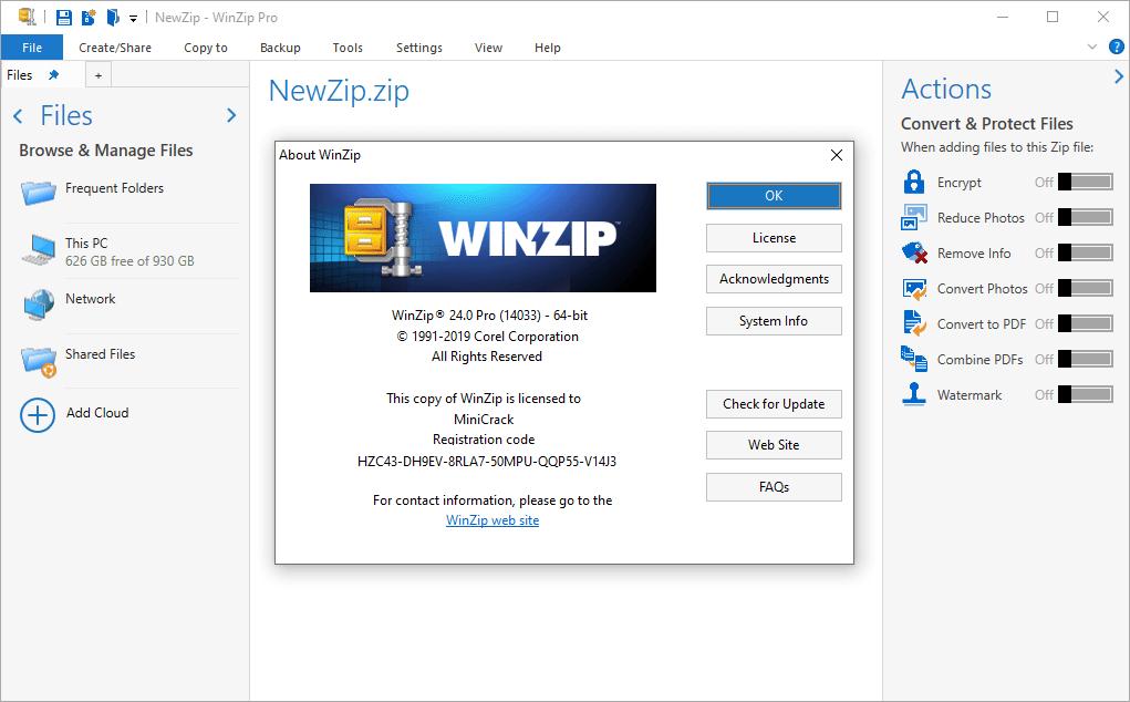 WinZip Pro 24.0 Build 14033 Crack & License Key {2020} Free Download