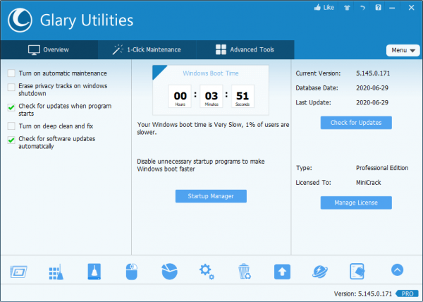 Glary Utilities Pro 5.145.0.171 Crack {2020} Free Download