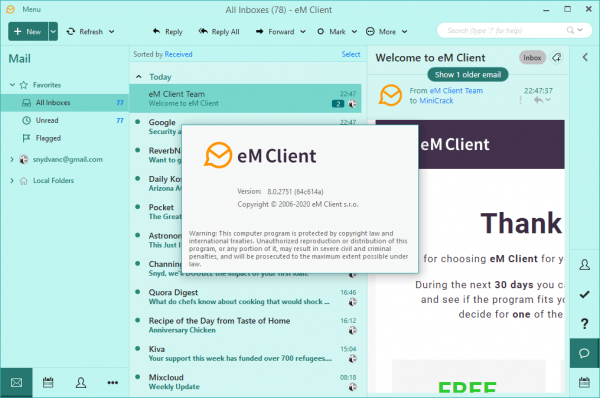 eM Client Pro 8.0.2751 Serial Key & Patch {2020} Free Download